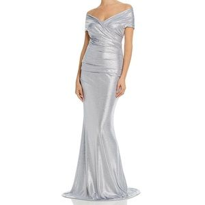 Eliza J Metallic Blue Silver Ruched Gown Dress